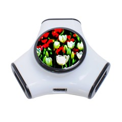 White And Red Sunlit Tulips 3 Port Usb Hub