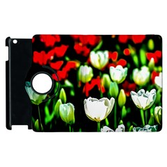 White And Red Sunlit Tulips Apple Ipad 2 Flip 360 Case by FunnyCow