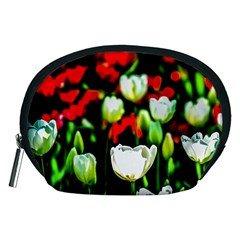 White And Red Sunlit Tulips Accessory Pouches (medium)  by FunnyCow