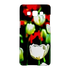 White And Red Sunlit Tulips Samsung Galaxy A5 Hardshell Case  by FunnyCow