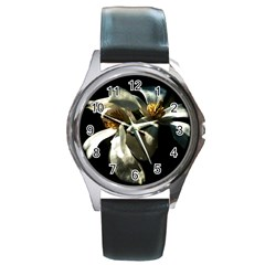 Two White Magnolia Flowers Round Metal Watch by FunnyCow