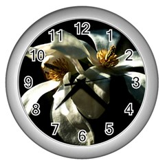 Two White Magnolia Flowers Wall Clock (silver)