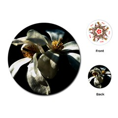 Two White Magnolia Flowers Playing Cards (round)