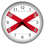 Alabama State Flag -  Wall Clock (Silver)