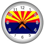 Arizona State Flag -  Wall Clock (Silver)