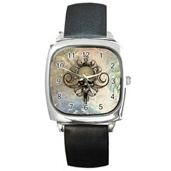 Awesome Creepy Skull With  Wings Square Metal Watch by FantasyWorld7