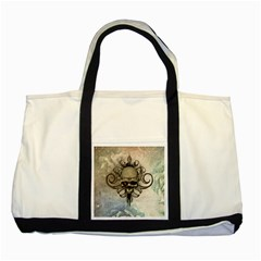 Awesome Creepy Skull With  Wings Two Tone Tote Bag