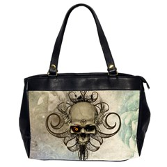 Awesome Creepy Skull With  Wings Office Handbags (2 Sides)  by FantasyWorld7