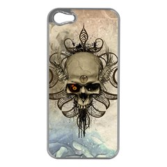 Awesome Creepy Skull With  Wings Apple Iphone 5 Case (silver) by FantasyWorld7