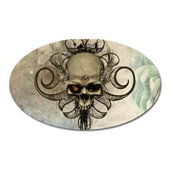 Awesome Creepy Skull With  Wings Oval Magnet