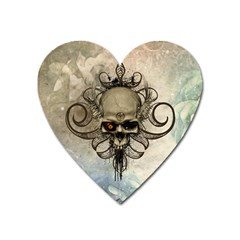 Awesome Creepy Skull With  Wings Heart Magnet
