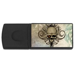 Awesome Creepy Skull With  Wings Rectangular Usb Flash Drive by FantasyWorld7