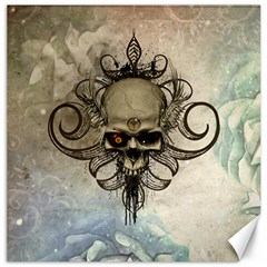 Awesome Creepy Skull With  Wings Canvas 12  X 12