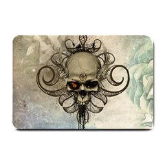 Awesome Creepy Skull With  Wings Small Doormat