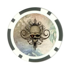 Awesome Creepy Skull With  Wings Poker Chip Card Guard
