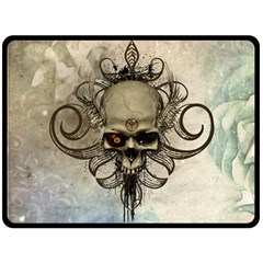 Awesome Creepy Skull With  Wings Fleece Blanket (large)  by FantasyWorld7