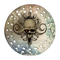 Awesome Creepy Skull With  Wings Ornament (round Filigree)