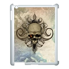 Awesome Creepy Skull With  Wings Apple Ipad 3/4 Case (white) by FantasyWorld7