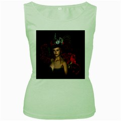 Beautiful Fantasy Women With Floral Elements Women s Green Tank Top