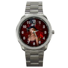 Beautiful Fantasy Women With Floral Elements Sport Metal Watch