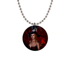 Beautiful Fantasy Women With Floral Elements Button Necklaces