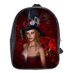 Beautiful Fantasy Women With Floral Elements School Bag (large)