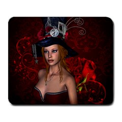 Beautiful Fantasy Women With Floral Elements Large Mousepads