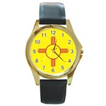 New Mexico State Flag -  Round Gold Metal Watch