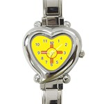 New Mexico State Flag -  Heart Italian Charm Watch