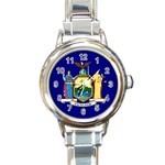 New York State Flag -  Round Italian Charm Watch