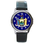 New York State Flag -  Round Metal Watch