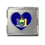 New York State Flag -  Mega Link Heart Italian Charm (18mm)