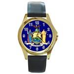 New York State Flag -  Round Gold Metal Watch