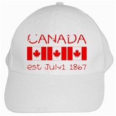 Canada Day Maple Leaf Canadian Flag Pattern Typography  White Cap