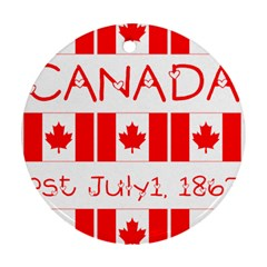 Canada Day Maple Leaf Canadian Flag Pattern Typography  Ornament (round)