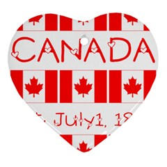 Canada Day Maple Leaf Canadian Flag Pattern Typography  Ornament (heart)
