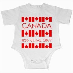 Canada Day Maple Leaf Canadian Flag Pattern Typography  Infant Creepers