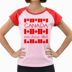Canada Day Maple Leaf Canadian Flag Pattern Typography  Women s Cap Sleeve T Shirt