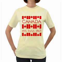 Canada Day Maple Leaf Canadian Flag Pattern Typography  Women s Yellow T Shirt