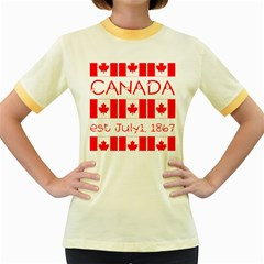 Canada Day Maple Leaf Canadian Flag Pattern Typography  Women s Fitted Ringer T Shirts