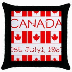 Canada Day Maple Leaf Canadian Flag Pattern Typography  Throw Pillow Case (black)