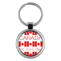 Canada Day Maple Leaf Canadian Flag Pattern Typography  Key Chains (round)
