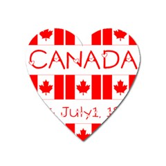 Canada Day Maple Leaf Canadian Flag Pattern Typography  Heart Magnet