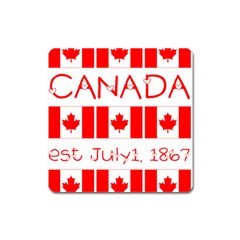 Canada Day Maple Leaf Canadian Flag Pattern Typography  Square Magnet
