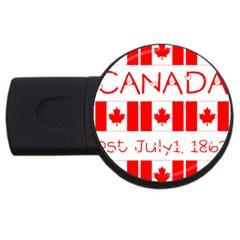 Canada Day Maple Leaf Canadian Flag Pattern Typography  Usb Flash Drive Round (2 Gb)