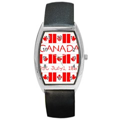 Canada Day Maple Leaf Canadian Flag Pattern Typography  Barrel Style Metal Watch