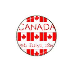 Canada Day Maple Leaf Canadian Flag Pattern Typography  Hat Clip Ball Marker (4 Pack)