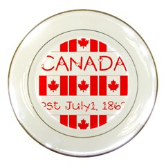 Canada Day Maple Leaf Canadian Flag Pattern Typography  Porcelain Plates