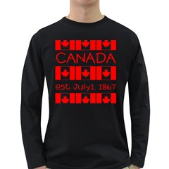 Canada Day Maple Leaf Canadian Flag Pattern Typography  Long Sleeve Dark T Shirts