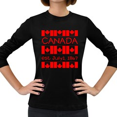 Canada Day Maple Leaf Canadian Flag Pattern Typography  Women s Long Sleeve Dark T Shirts
